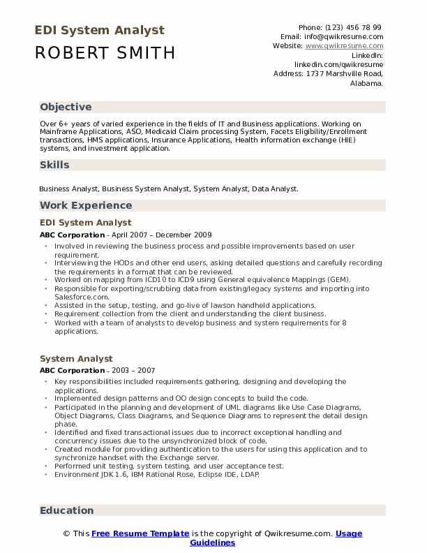 EDI System Analyst Resume Format