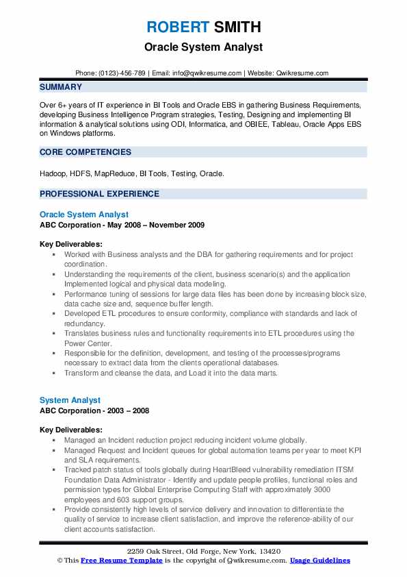Oracle System Analyst Resume Format