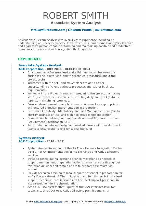 Associate System Analyst Resume Model