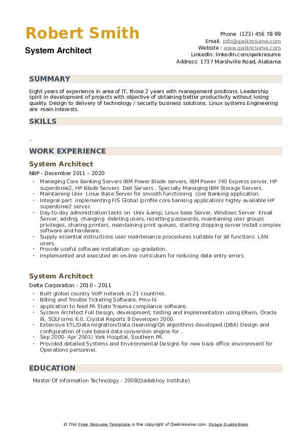 System Architect Resume example