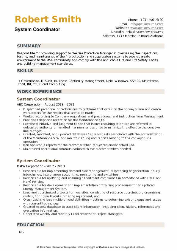 System Coordinator Resume example