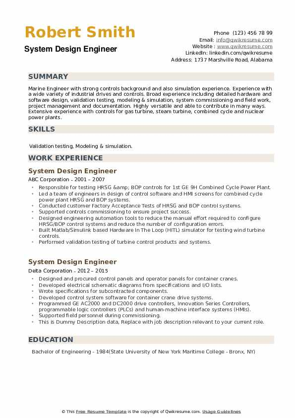 System Design Engineer Resume example
