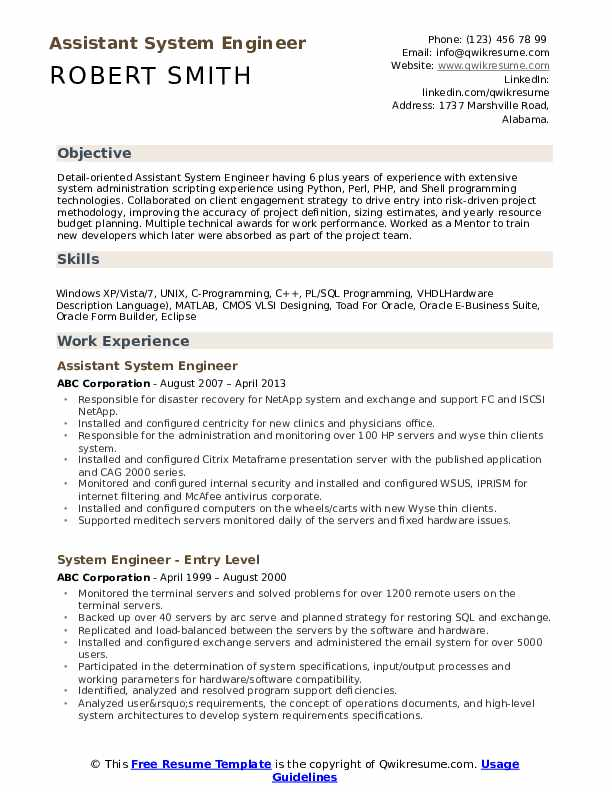 Assistant System Engineer Resume Format