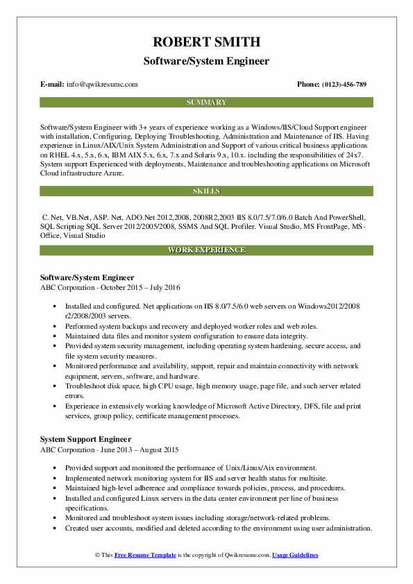 Software/System Engineer Resume Example