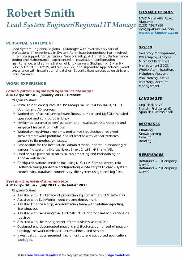 Lead System Engineer/Regional IT Manager Resume Example