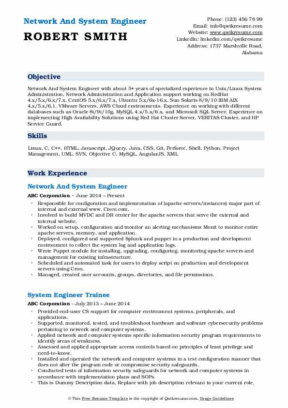 Network And System Engineer Resume Format