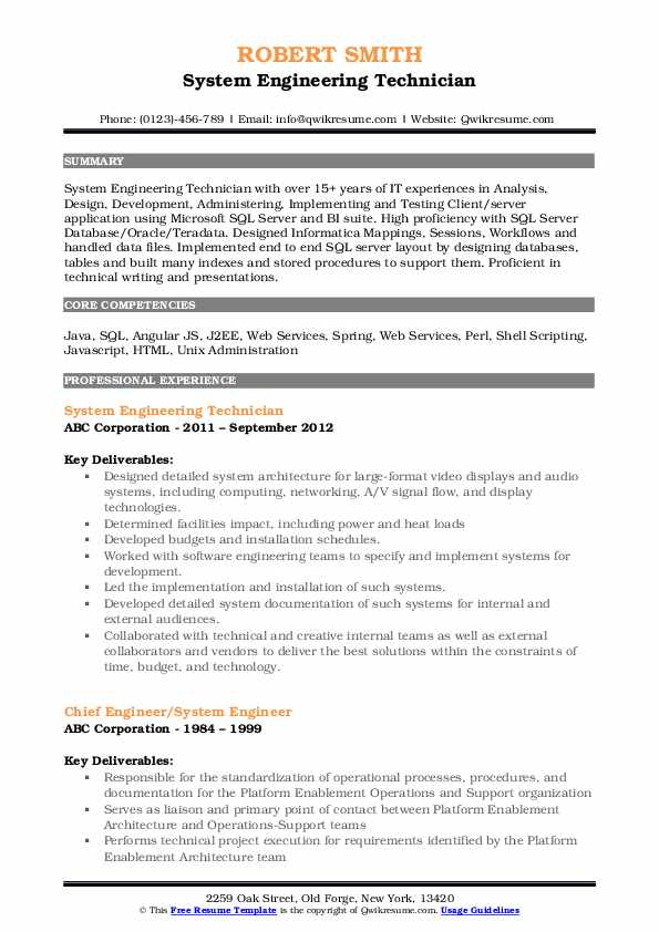 System Engineering Technician Resume Model