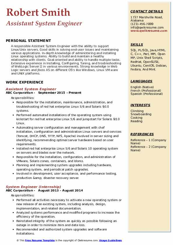 Assistant System Engineer Resume Sample