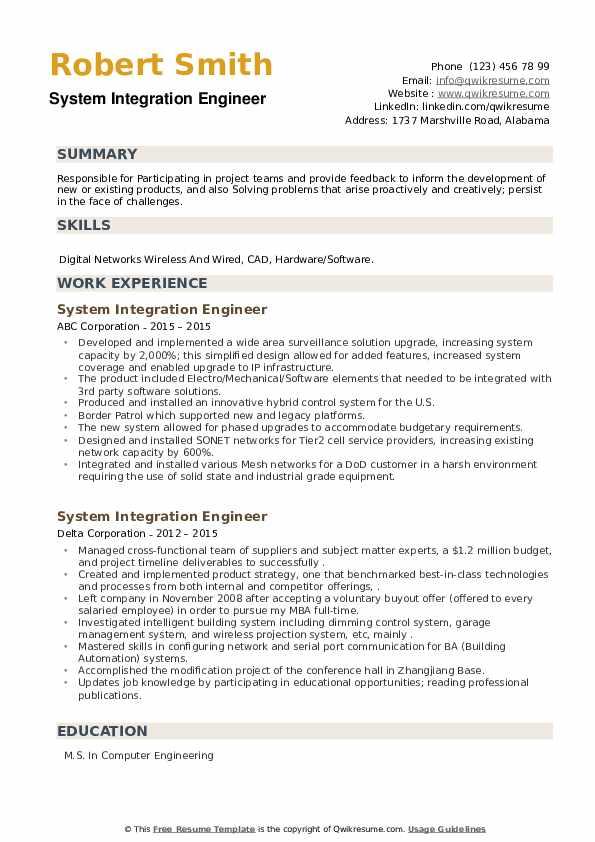 System Integration Engineer Resume example