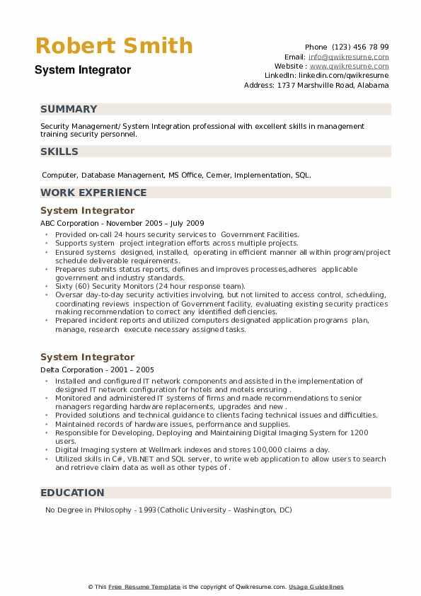 System Integrator Resume example