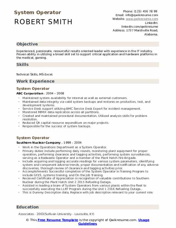 System Operator Resume example