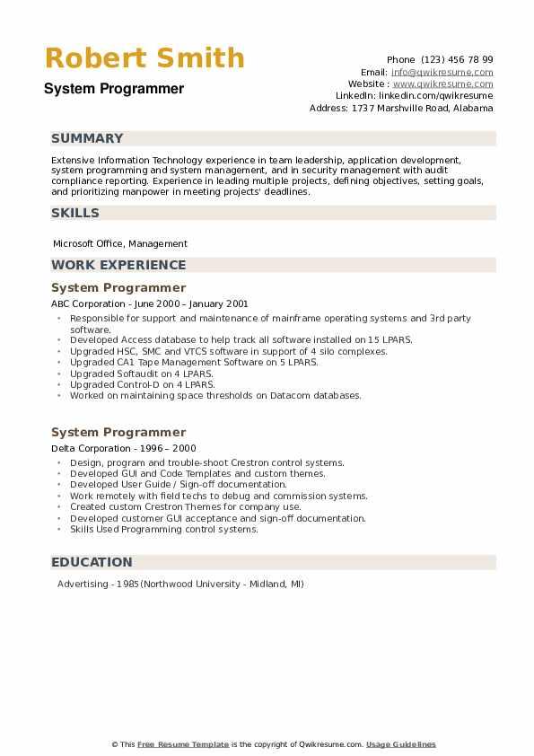 System Programmer Resume example