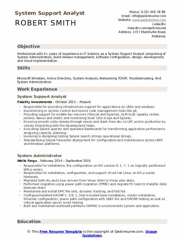 System Support Analyst Resume Format