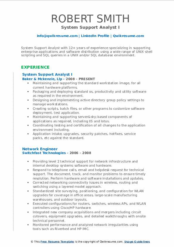 System Support Analyst I Resume Sample