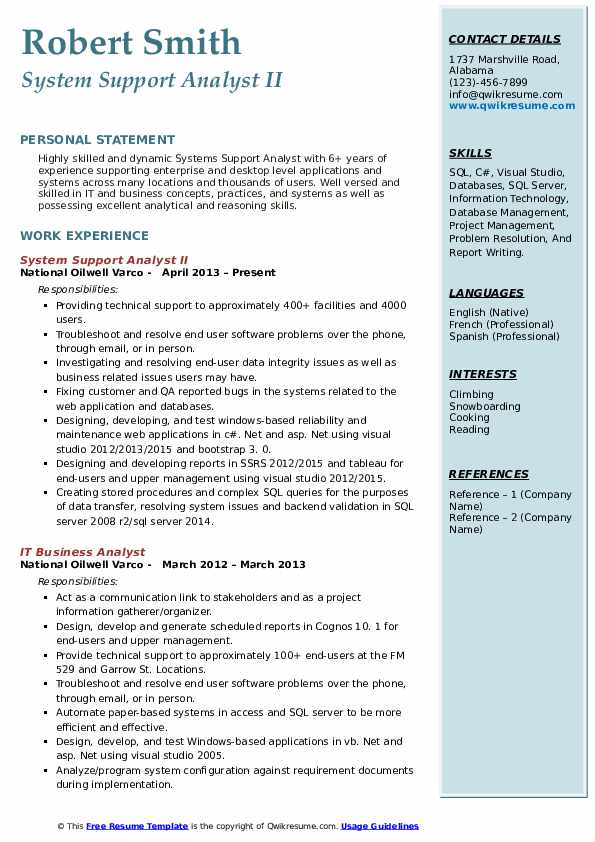 System Support Analyst II Resume Model