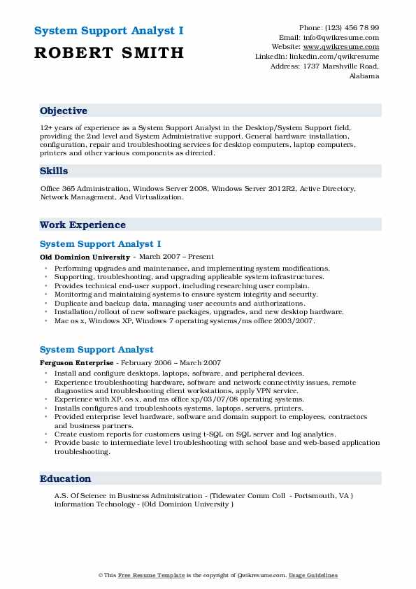 System Support Analyst I Resume Example