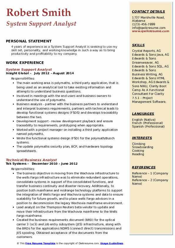 System Support Analyst Resume example