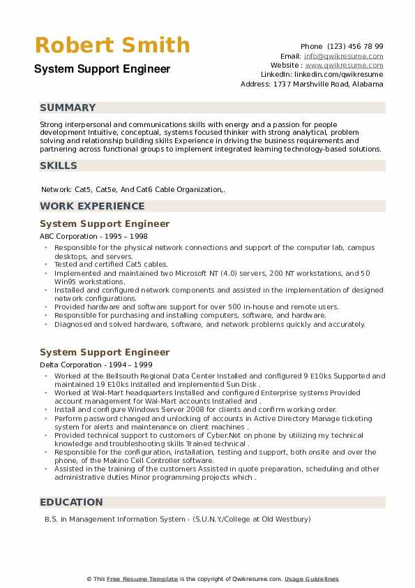 System Support Engineer Resume example