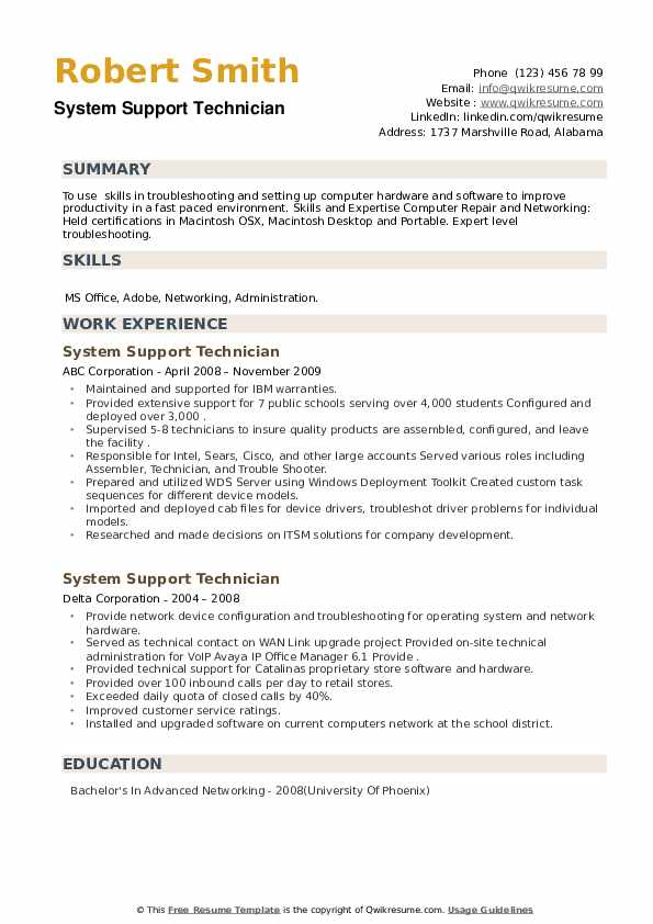 System Support Technician Resume example
