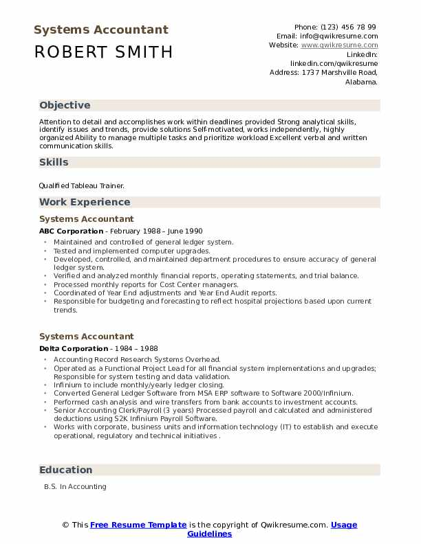 Systems Accountant Resume example