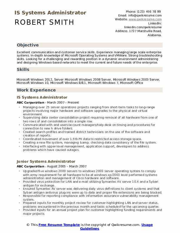 IS Systems Administrator Resume Template