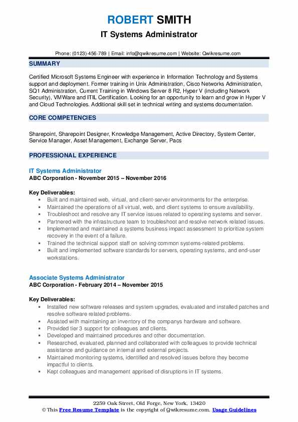 IT Systems Administrator Resume Template