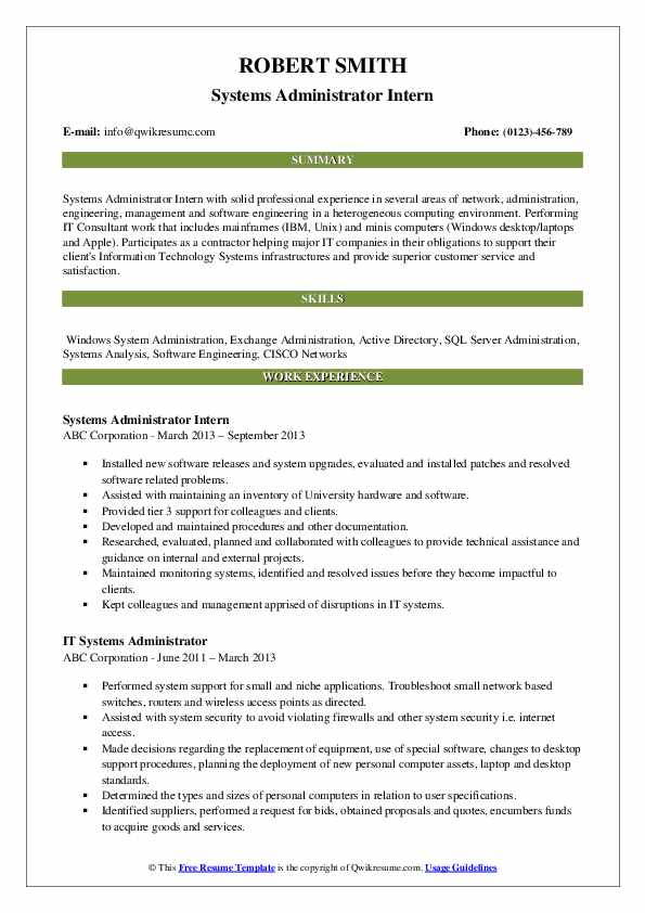 Systems Administrator Intern Resume Example