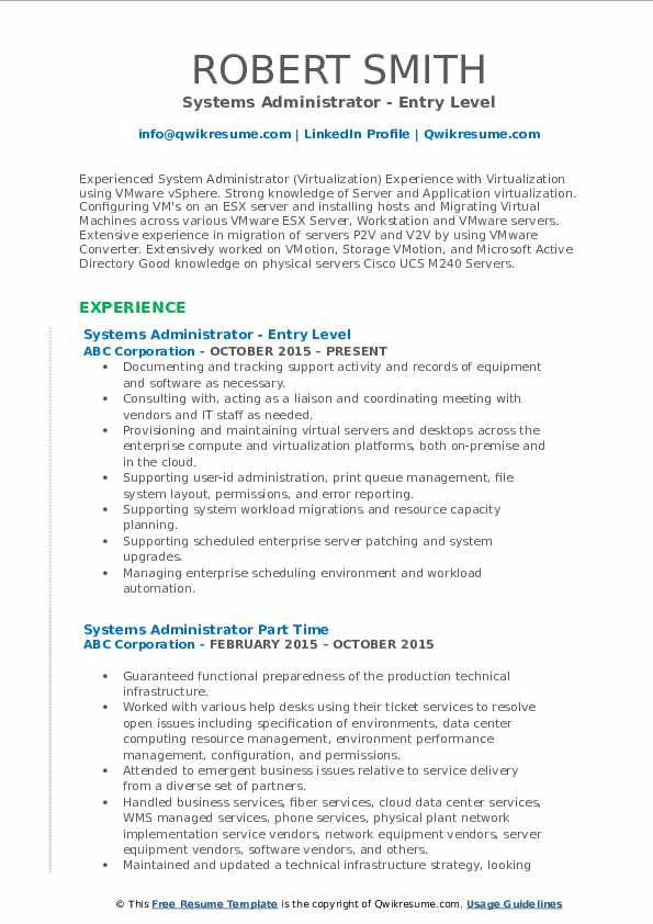 Systems Administrator - Entry Level Resume Model