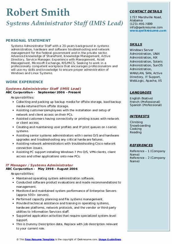 Systems Administrator Staff (IMIS Lead) Resume Template