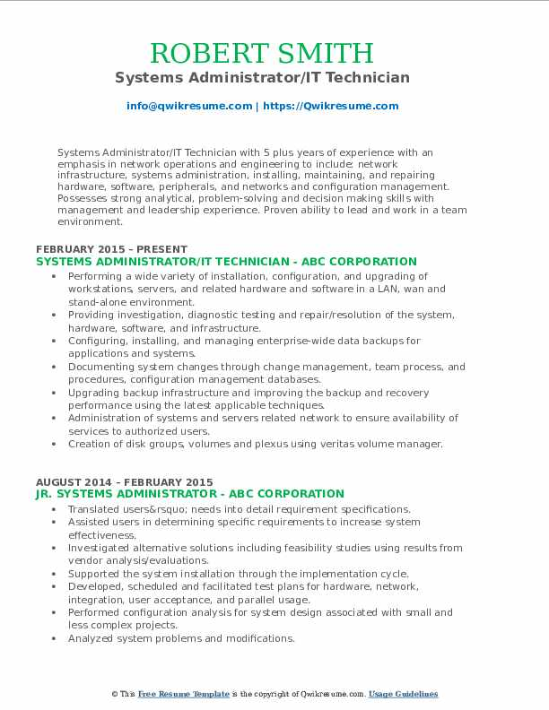 Systems Administrator/IT Technician Resume Sample