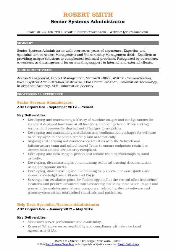 Senior Systems Administrator Resume Template
