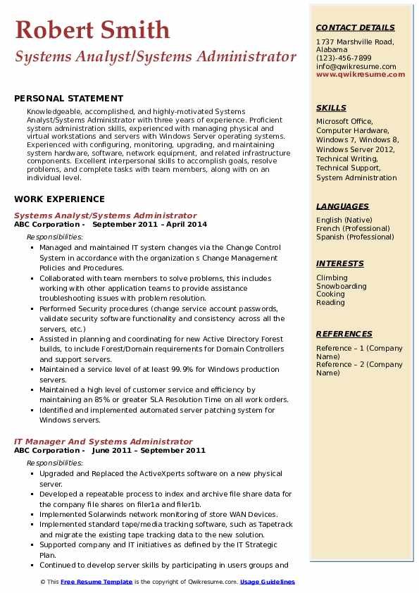 Systems Analyst/Systems Administrator Resume Model