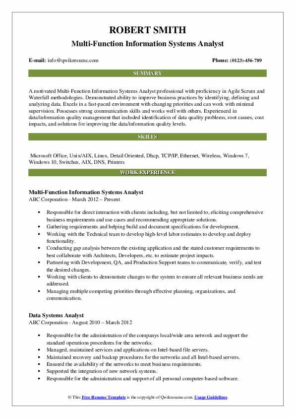 Multi-Function Information Systems Analyst Resume Template
