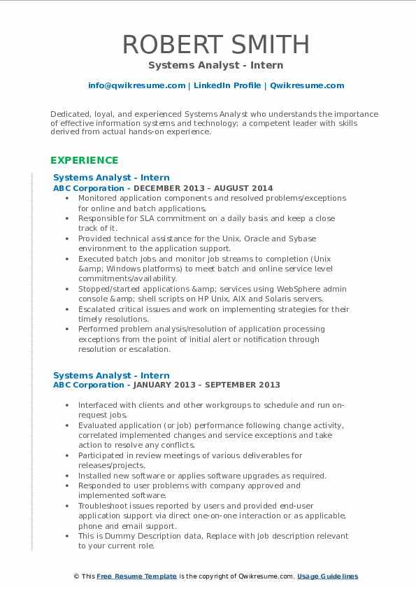 Systems Analyst - Intern Resume Model