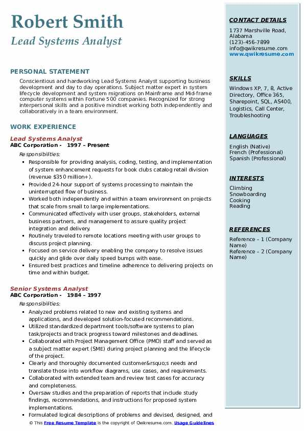 Systems Analyst Resume Samples | QwikResume