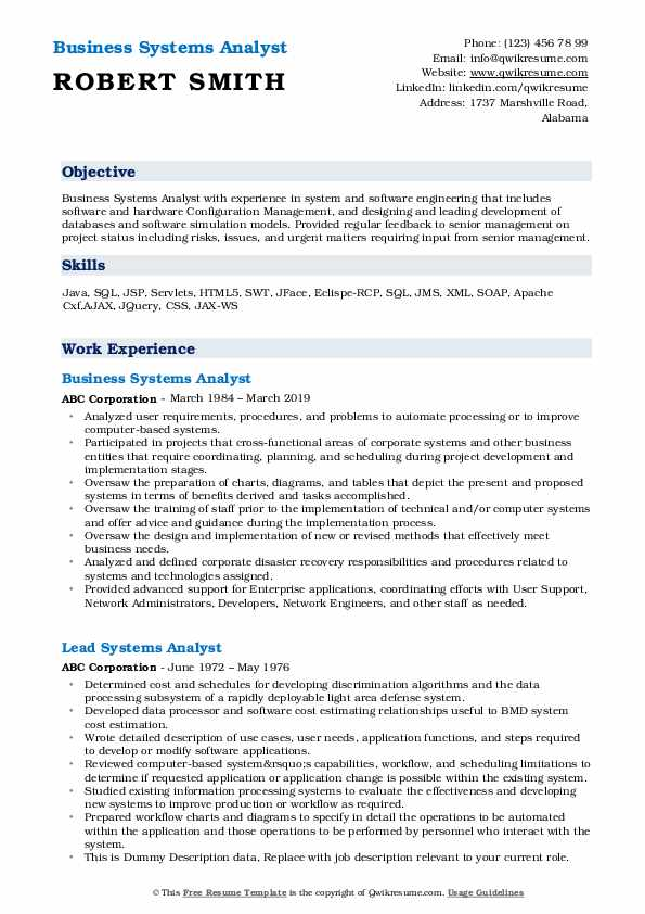 Business Systems Analyst Resume Model