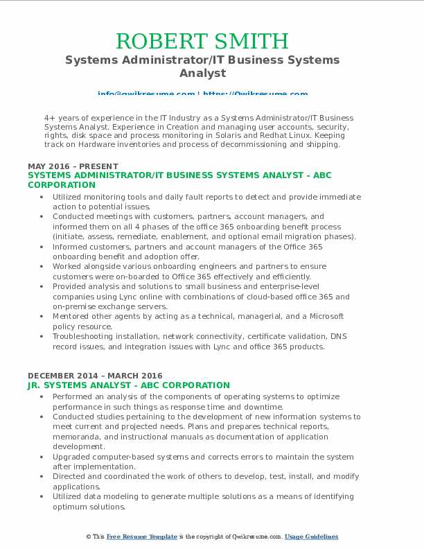 systems analyst resume samples  qwikresume