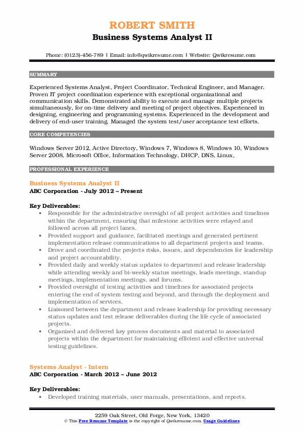 Business Systems Analyst II Resume Sample