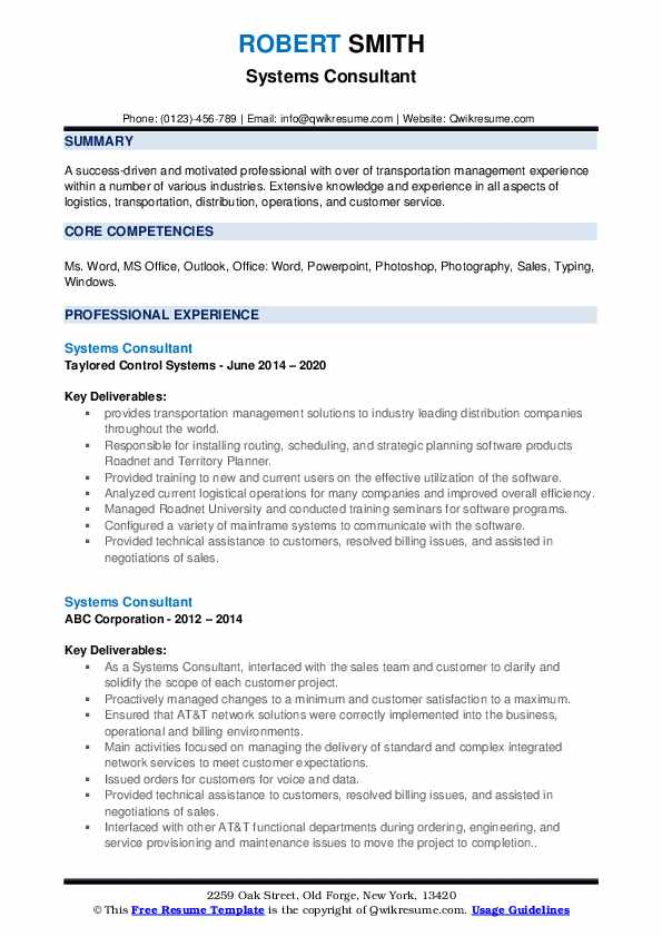 Systems Consultant Resume example
