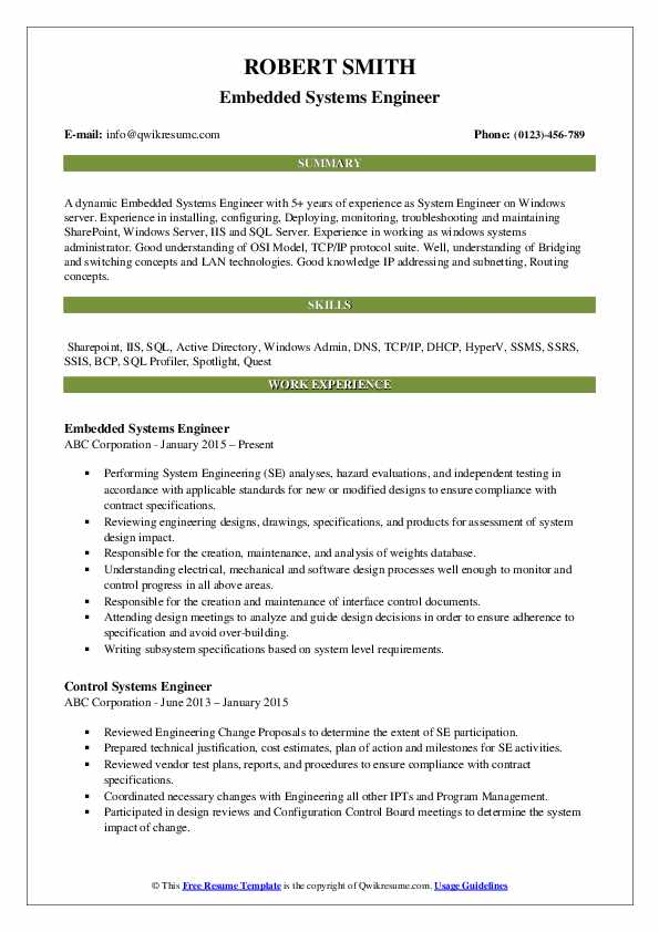 systems engineer resume samples