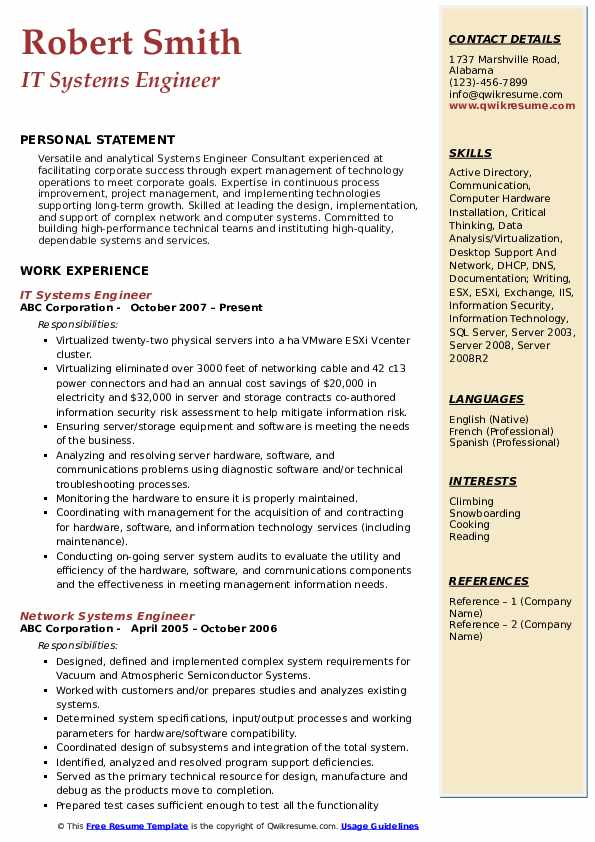 IT Systems Engineer Resume Model