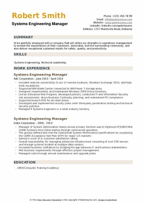 Systems Engineering Manager Resume example