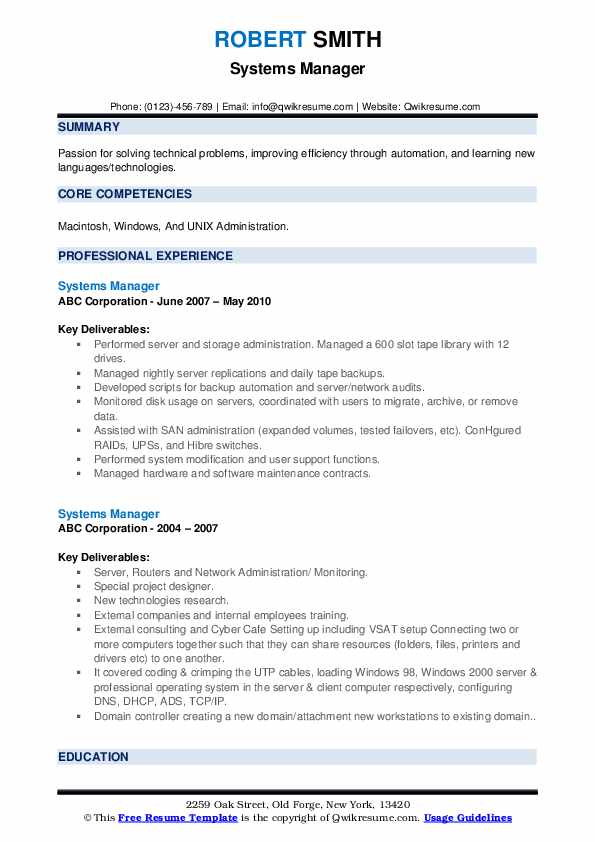 Systems Manager Resume example