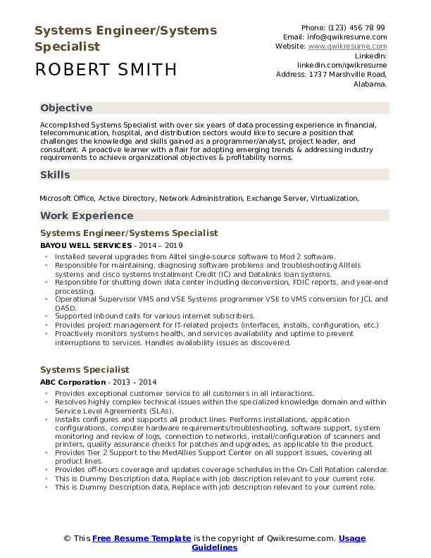 Systems Specialist Resume example