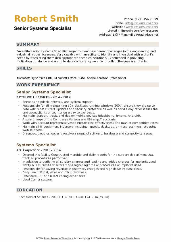 Junior Systems Administrator Resume example