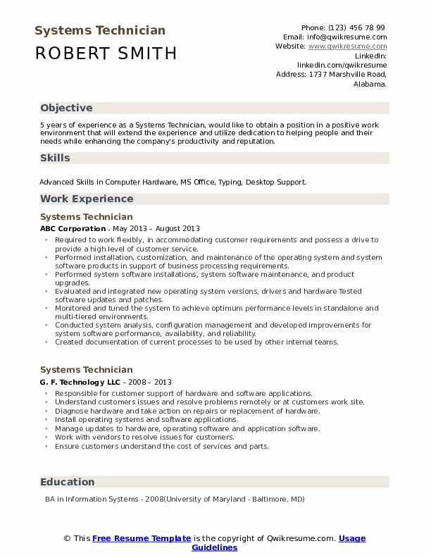 Systems Technician Resume Example