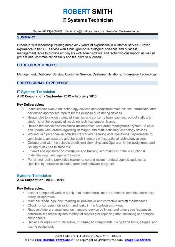IT Systems Technician Resume Format