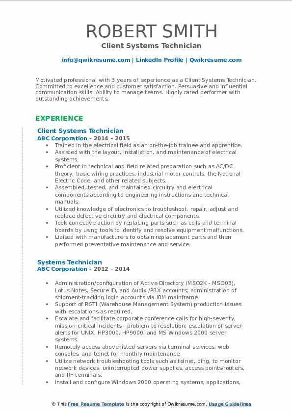 Client Systems Technician Resume Sample