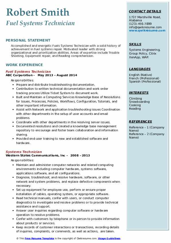 Fuel Systems Technician Resume Format