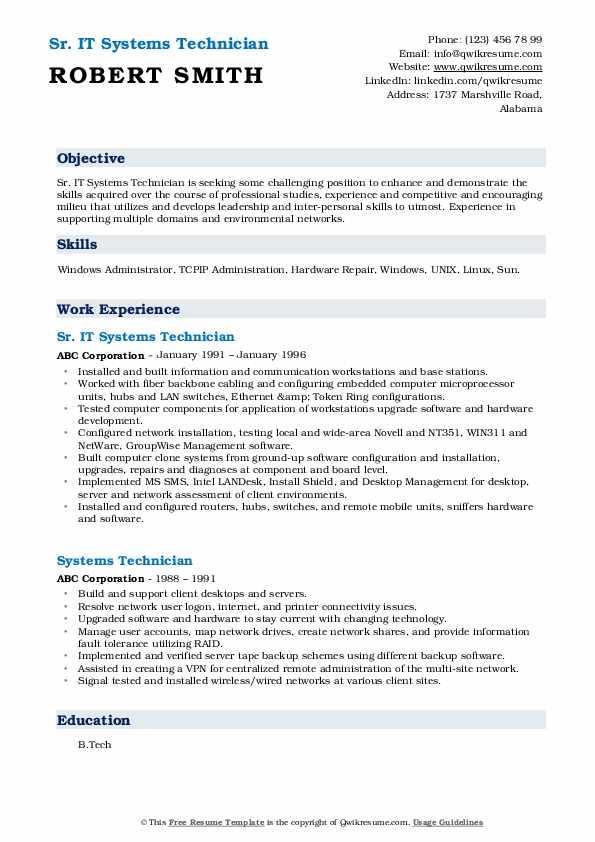 Sr. IT Systems Technician Resume Template